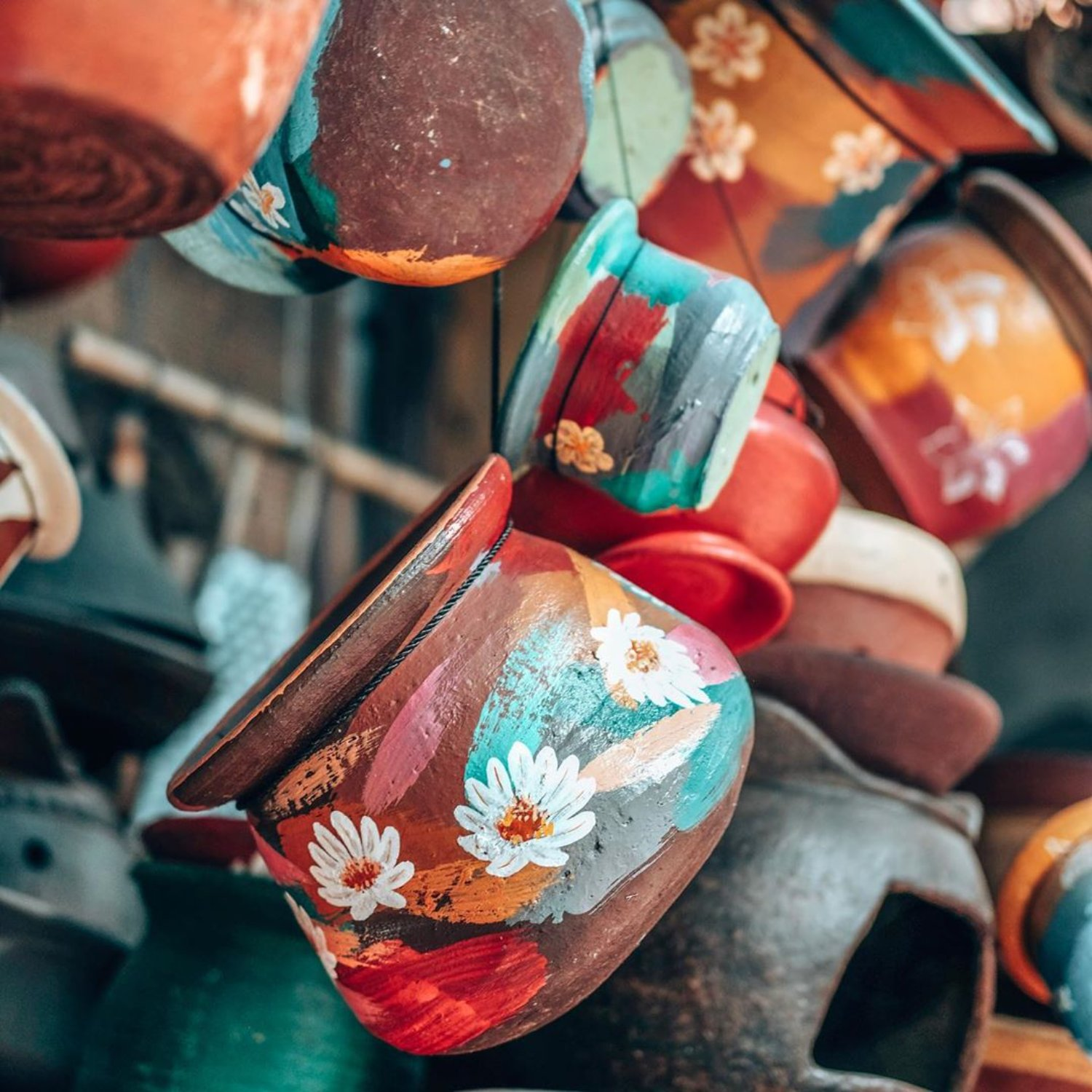 Colorful Painted Terracotta Pots